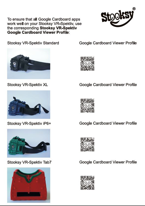 Download all Stooksy VR-Spektiv Google Cardboard Viewer Profiles